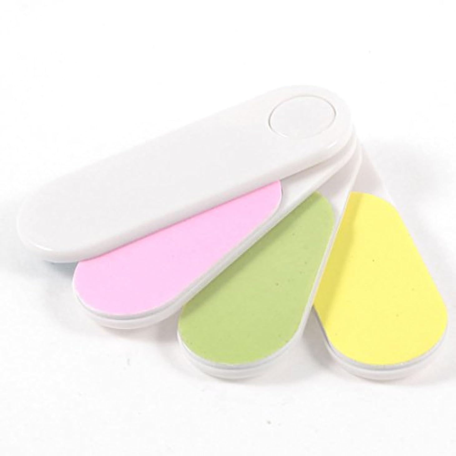 朝食を食べるマニュアルアイデアRETYLY 色付き折りたたみ式4ウェイシャインサンディングブロック ネイルファイルバッファ