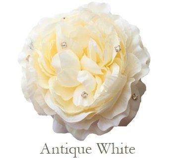 造花 Flower コサージュ 2way ヘッドドレス アクセサリー ヘアアクセサリー フェザー アーティシャルフラワー 選べる4色 ラナンキュラス ラッピング無料 bfhd-01 (Antique White)