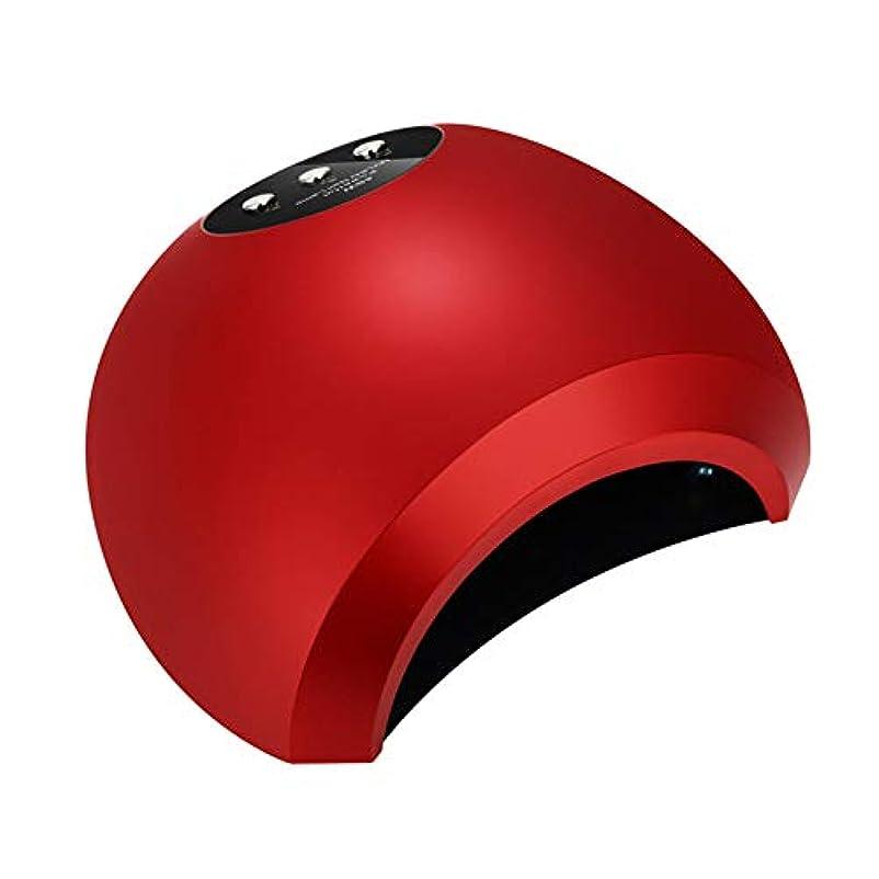 バケツハリケーンキャラクターLED UVネイルドライヤー48W 3モードプロフェッショナルLCDディスプレイ赤外線センシングジェルポリッシュランプ光硬化マニキュア機,赤