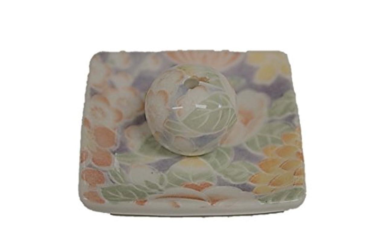 古くなった説得力のある進化華友禅 小角皿 お香立て 陶器 製造 直売品
