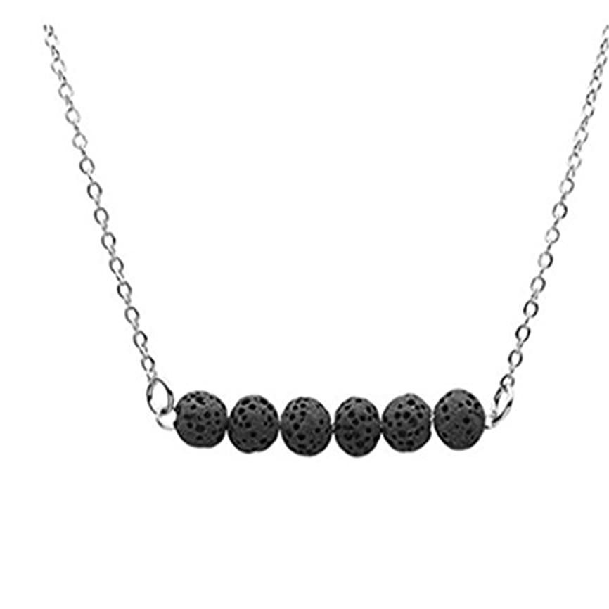 フォージポットルアーcianowegy Simple Tinyラバストーンネックレス、Essential Oil Diffuserネックレスwith Lava Stone – ステンレススチール ブラック
