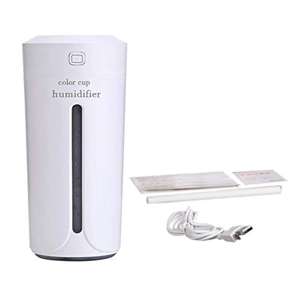引数突破口円形Saikogoods 車のホームのための空気Moistenerノイズレスカラフルなナイトライトミストメーカーを充電ミニカップ形状の空気加湿器USB 白