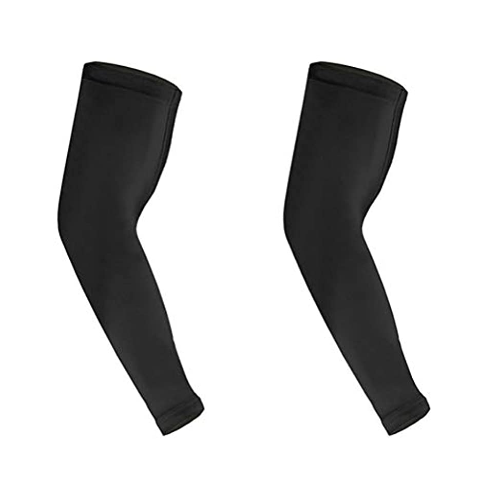 インスタント章分岐するHEALIFTY 男性用スポーツアームスリーブ肘袖ロング肘サポートスリーブM 2本(ブラック)