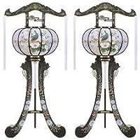 霊前灯 猫足 3号 スカシ 1対(2台1組) 高さ約96cm 廻転筒付 日本製 行灯 盆提灯 八女提灯