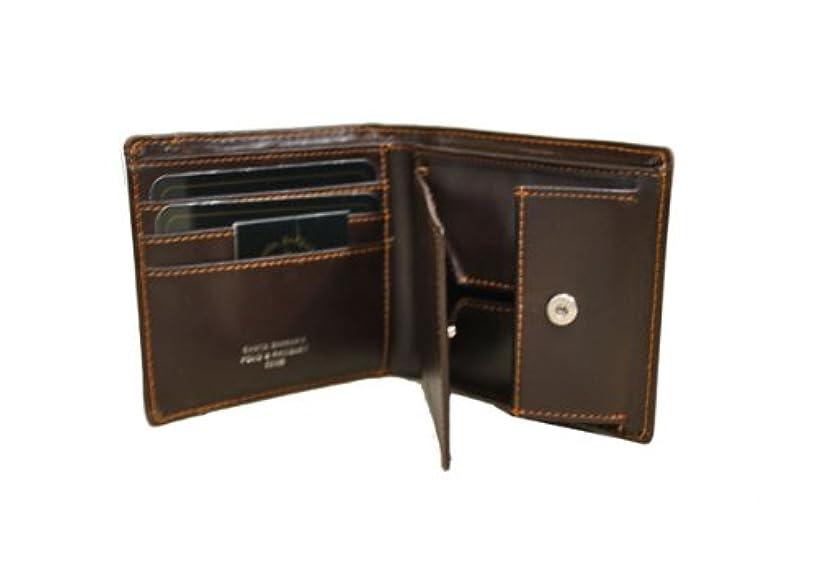 それる玉ネブPOLO&RACQUET:CLUB 牛革メンズ二ッ折財布 ボックス型小銭入付 SB9063 ダークブラウン
