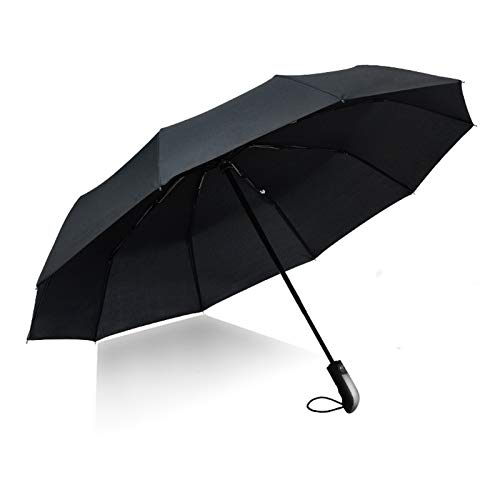 折りたたみ傘 自動開閉(ワンタッチ式) 晴雨兼用 頑丈な10本骨 201T 超軽量(約425g) 高強度グラスファイバー 耐風&撥水&遮光&遮熱 男女兼用 折り畳み傘 贈り物 (ブラック, 116cm)