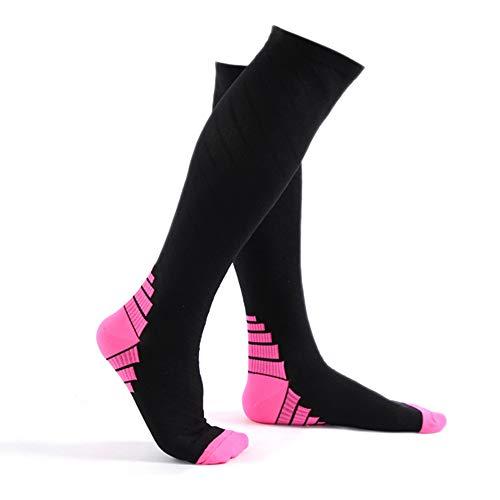 コンプレッションソックス スポーツ 着圧 ソックス 靴下 弾性ソックス 疲労減少 運動最適 アーチサポート 血行促進 全2色 SOKa01 (ピンク,S/M)