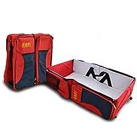 Mioke ベビー旅行用 外出用マザーズバッグ 折り畳み式ベビーベッド マミーバッグ大容量ユニバーサルポータブル 折りたたみ 持ち運びやすい (レッド)