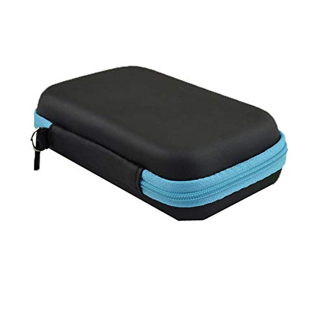 支援申し立てられた注釈エッセンシャルオイルボックス オイルレザーハードシェルの外部記憶装置には、あなたの最高のエッセンシャルオイルエッセンシャルオイルを披露1-3ML アロマセラピー収納ボックス (色 : 青, サイズ : 12X7.5X4CM)