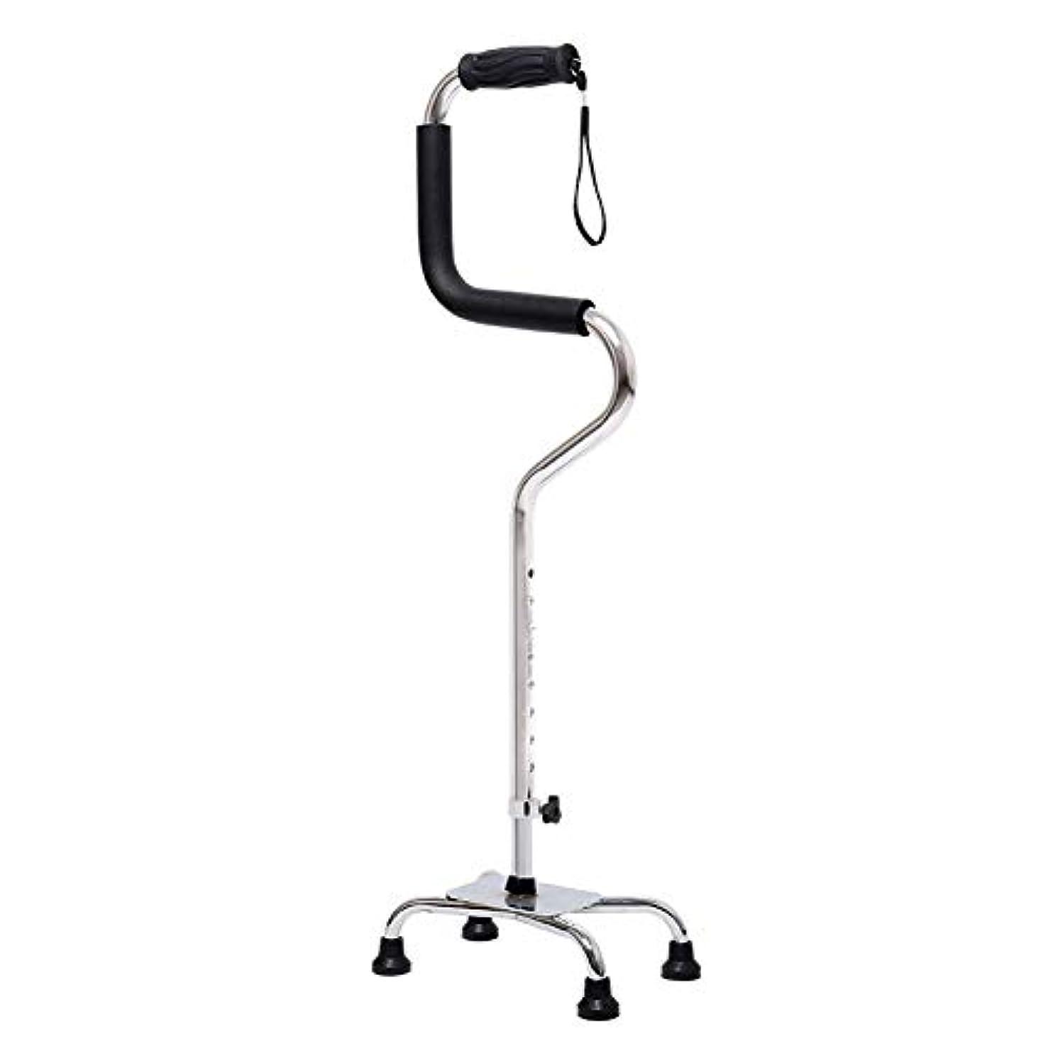 かまど柱歌うシニア/レディース/メンズアルミ合金1.2kg 130kgをロードするための4本足で調節可能な78-95.5cmソフトグリップライトアップを手助けする杖/杖 両親への最高の贈り物 (Color : 銀)