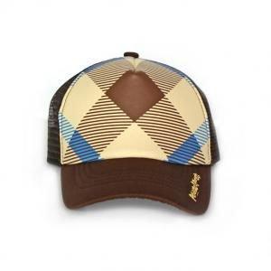 【並行輸入】Peanut Posh Trucker Hats Brown and Blue Plaid ピーナッツポシュ トラッカーハット ブラウン アンド ブルー プレイド