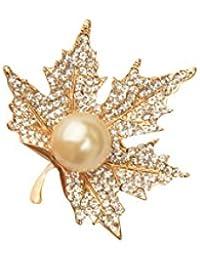 SONONIA 衣類のスーツアクセサリー 秋の金色の水晶カエデ ブローチピン 宝飾品
