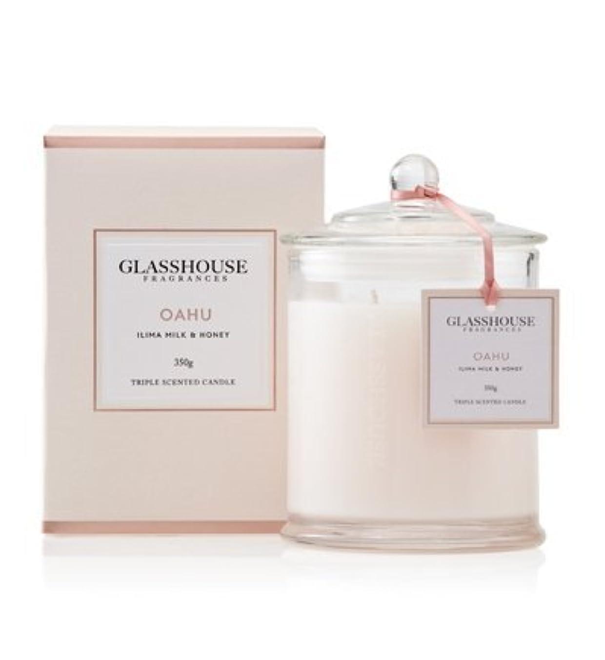 実質的センチメンタル赤面GLASSHOUSE グラスハウス アロマキャンドル (オアフ) ミルキーフローラル 350g