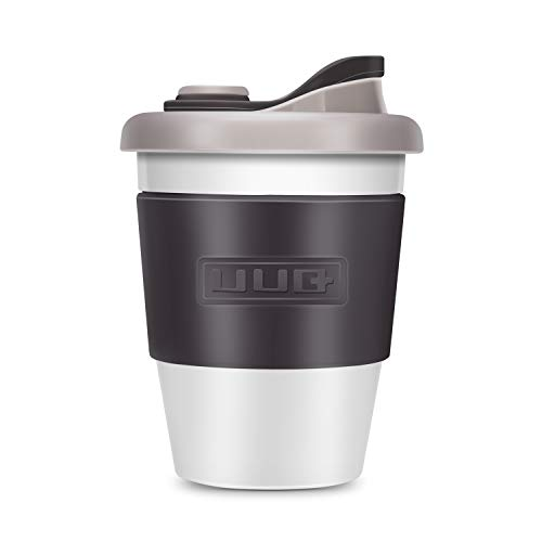 コーヒーカップ UUQ コーヒーカップ 蓋付き 耐熱 軽くて環境に優しく 滑り止めシリコーン 繰り返し使用可能 恋人、友達、学生にプレゼント 食洗機/電子レンジ対応 340ml(ライトグレー)