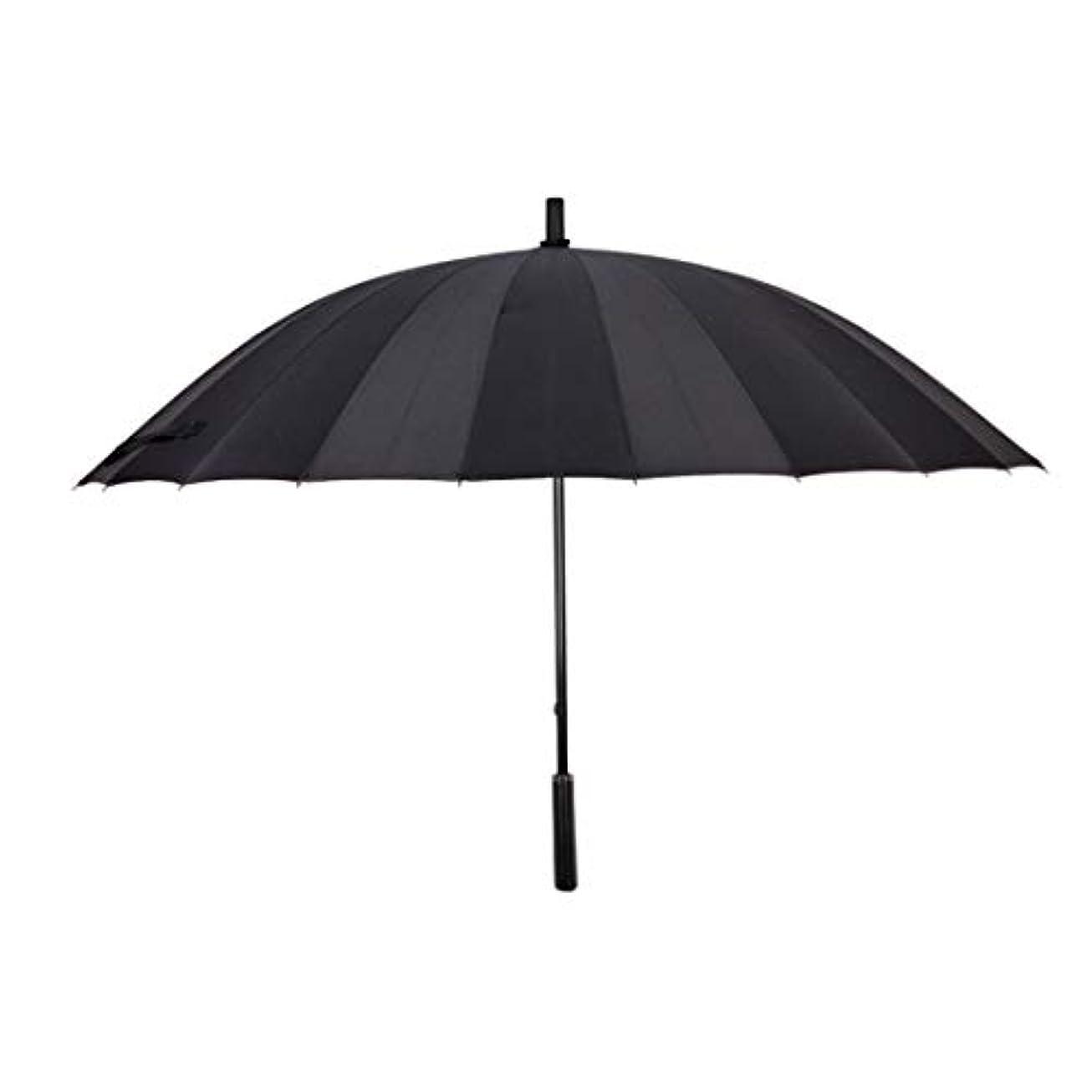 放送松粘着性Summerys 特大24骨大人のソリッドカラーの傘のマニュアルストレートハンドル傘 (Color : Black)