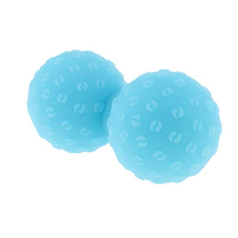 スプリットキャンセル型Fenteer シリコンマッサージボール 指圧ボール ピーナッツ トリガーポイント ツボ押しグッズ ヨガ 全6色 - 青, 説明のとおり