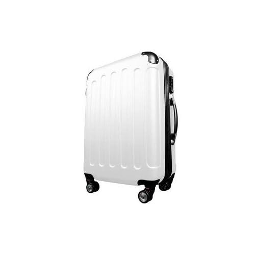 スーツケース/キャリーバッグ 【Lサイズ/大型7~14日】 TSA搭載 軽量 ファスナー ホワイト(白)