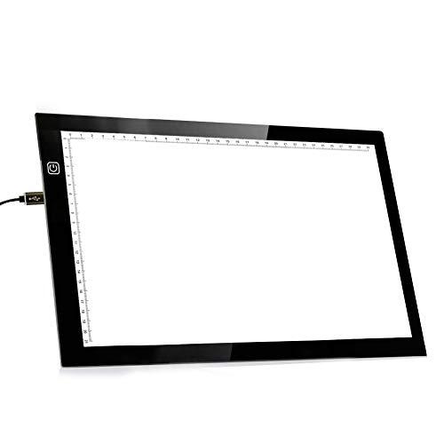 【最新版】トレース台 LED A4ライトテーブル 薄型5mm 無段階調光 目盛り付き 視力保護 アクリル素材 タッチ式 USBコード付 製図 マンガ スケッチ デッサン イラストタッチセンサ式 日本語版説明書付き