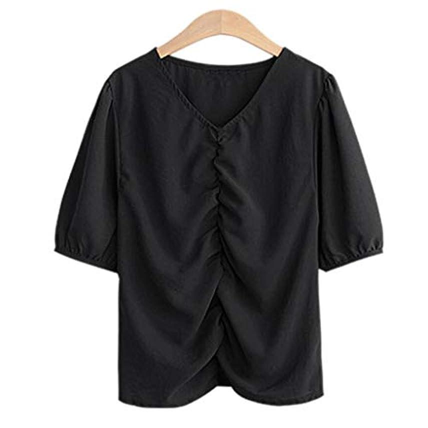 常識拾う付き添い人Kukiwa tシャツレディース Vネック 5分袖 ブラウス 無地 半袖 トップス シャツ フンワリ 着痩せ オフィス 半袖 ユッタリ フェミニン 肌触り良い 快適