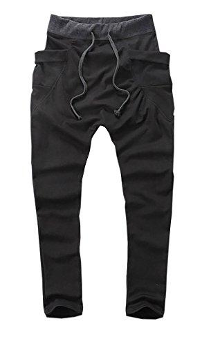 ( Make 2 Be )サルエルパンツ スウェットパンツ ジャージ 下 トレーニングウェア ルームウェア トレーニング ショート パンツ スウェット メンズ MF16 (Black_Mサイズ)