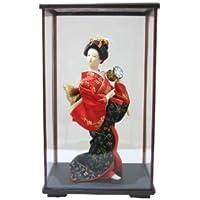日本人形ケース入り 9インチ No.9-A 鼓 9inch Japanese Doll in Acrylic Case, Geisha Girl with Hand Drum in carton box
