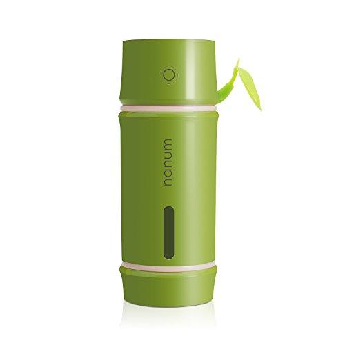BIENNA ミニ加湿器 USB給電 超音波 静音 ペットボトル加湿器 小型卓上加湿器 LED付き 空焚き防止機能 家庭用 オフィス用 車載用 旅行用 携帯式 省エネ 輻射ゼロ 竹筒型(萌黄色)