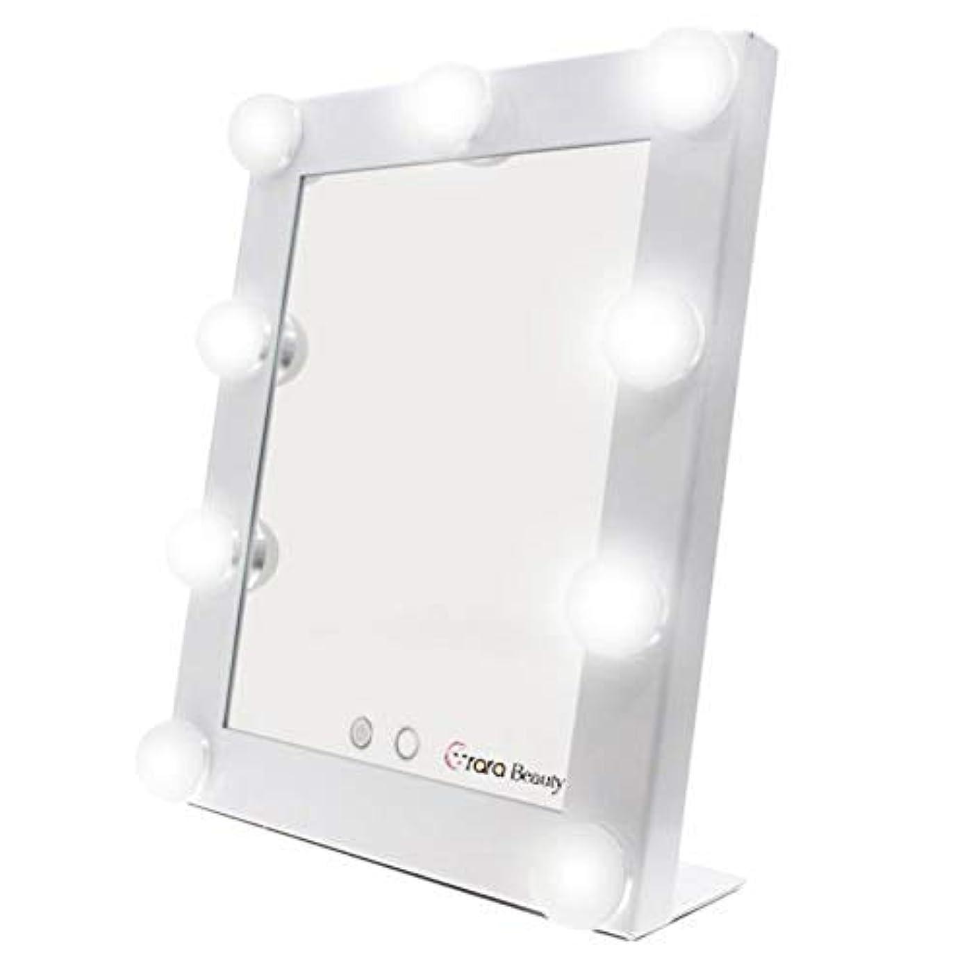 息切れ伝染病受信lily's JP home 化粧鏡 女優ミラー 化粧ミラー メイクアップミラー LEDライト付き ハリウッド式 9*3WLED電球付き 2way給電タイプ 卓上ミラー (ホワイト)