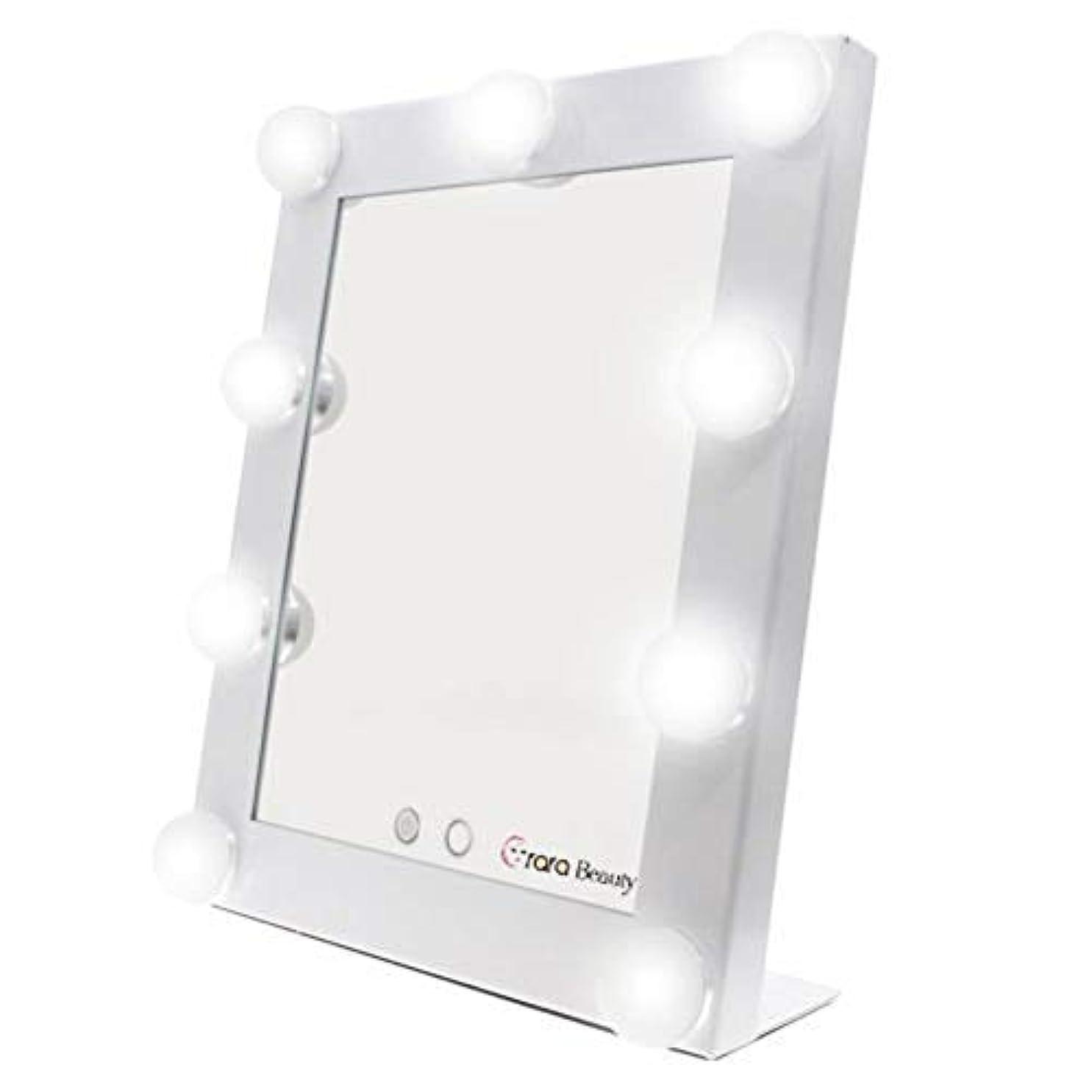 狂乱印象派エレクトロニックlily's JP home 化粧鏡 女優ミラー 化粧ミラー メイクアップミラー LEDライト付き ハリウッド式 9*3WLED電球付き 2way給電タイプ 卓上ミラー (ホワイト)