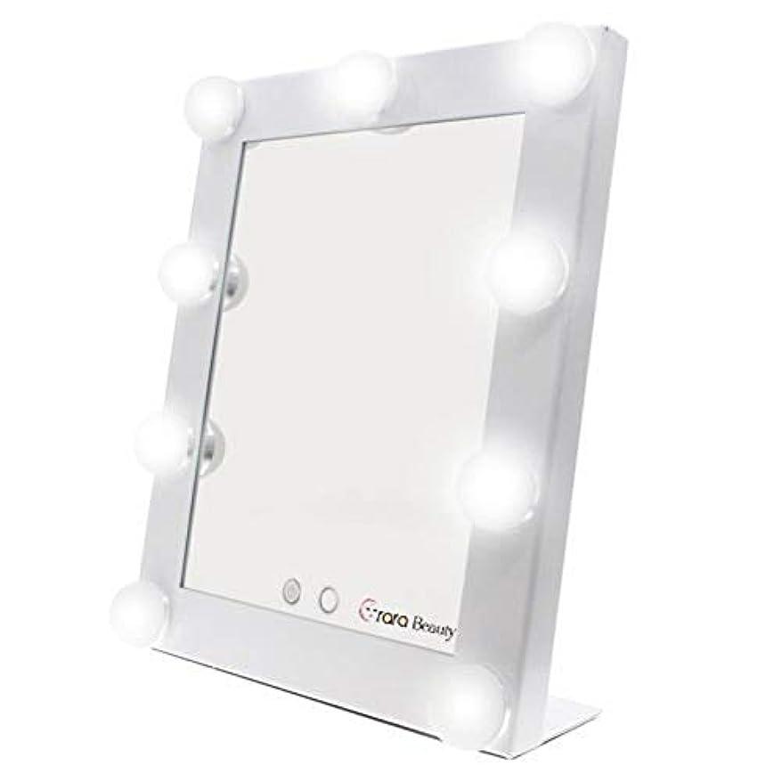約世論調査エッセイlily's JP home 化粧鏡 女優ミラー 化粧ミラー メイクアップミラー LEDライト付き ハリウッド式 9*3WLED電球付き 2way給電タイプ 卓上ミラー (ホワイト)