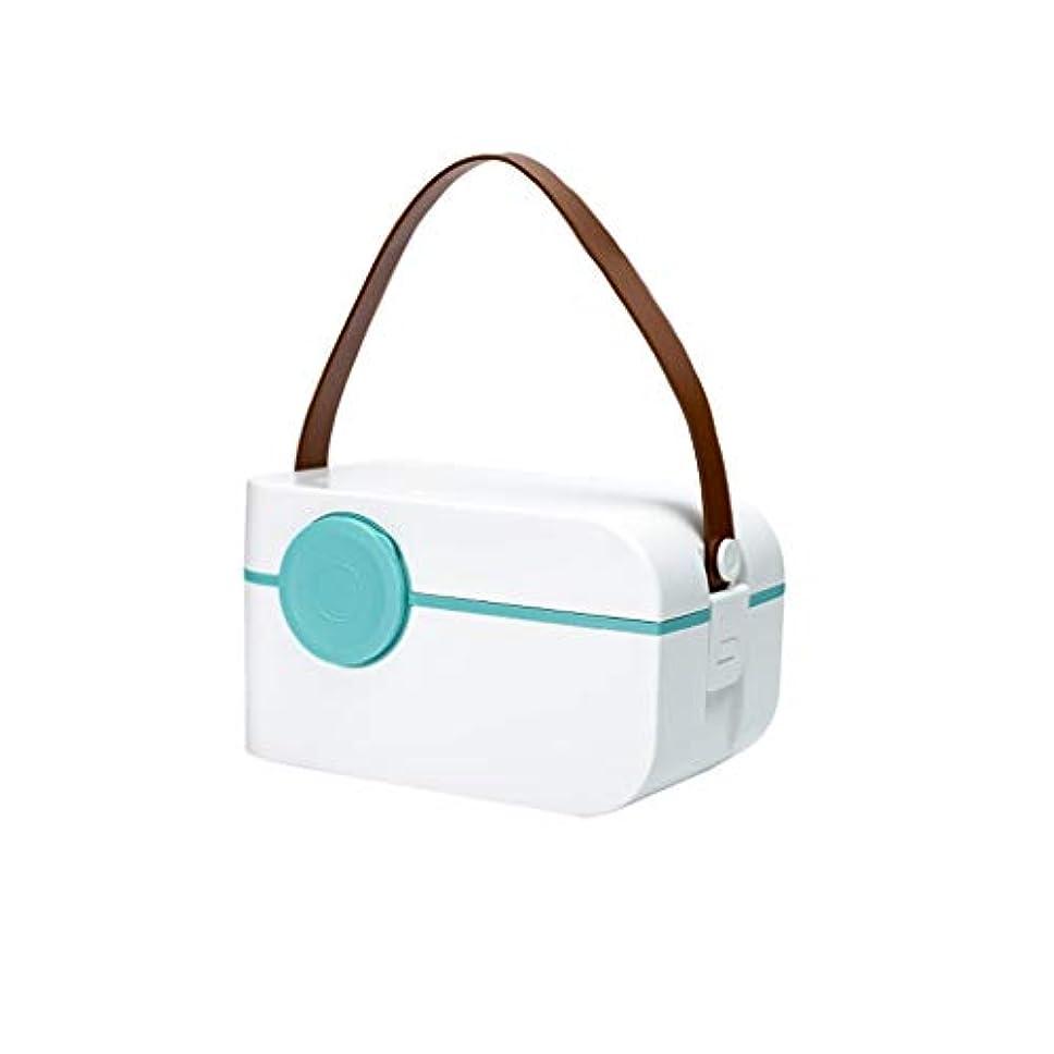 なくなるピックリズム薬箱小さなポータブル多機能家庭用薬収納ボックス二層デザインピル分類ボックス SYFO (Color : White)