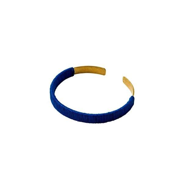 185038 コットン&メタルバングル ブルー×...の商品画像