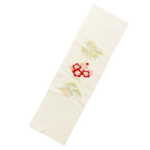 [ 衿秀 ] 刺繍 半衿「薄生成り青海波模様に松竹梅」刺繍半襟 振袖用半衿 成人式 卒業式