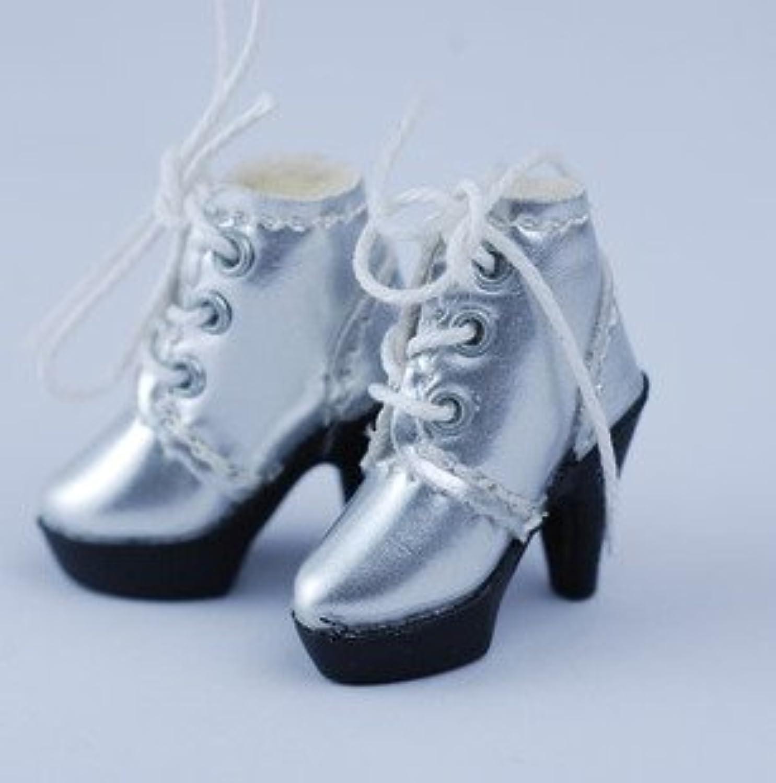 【全5色】 ネオブライス 1/6 ドール 靴 エナメル ブーティ ショートブーツ ハイヒール シルバー