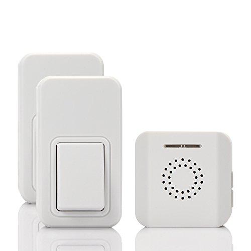 ワイヤレスドアベル 無線チャイム インターホン-TopYart セルフパワー USB接続受信機 IPX7防水 電池不要送信機 チャイムキット 介護現場 玄関 オフィス 飲食店など適用 ホワイト(2送信機1受信機)