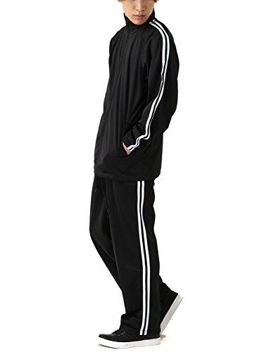 [REPIDO (リピード)] ジャージ セットアップ メンズ 上下セット 2ライン 長袖 スポーツ ブラック×ホワイト Mサイズ