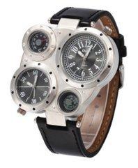 oulm 腕時計 電子クォーツ時計 コンパス 温度計付 文字盤 ブラック