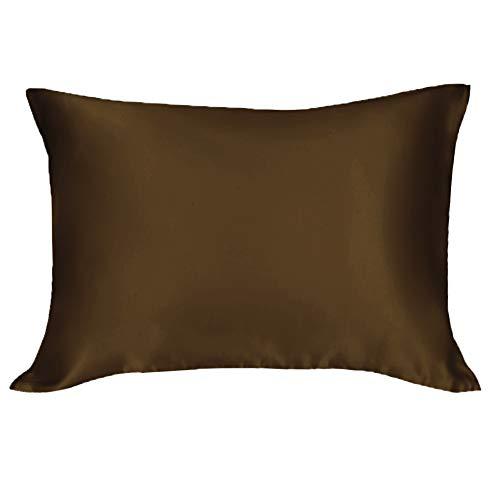 シルク枕カバー 100% 蚕糸 美肌 美髪 保湿 まくらカバー シルク 両面タイプ 滑らかな材質 ピロケース ファスナー付き コーヒー 35x50cm 1個 19匁