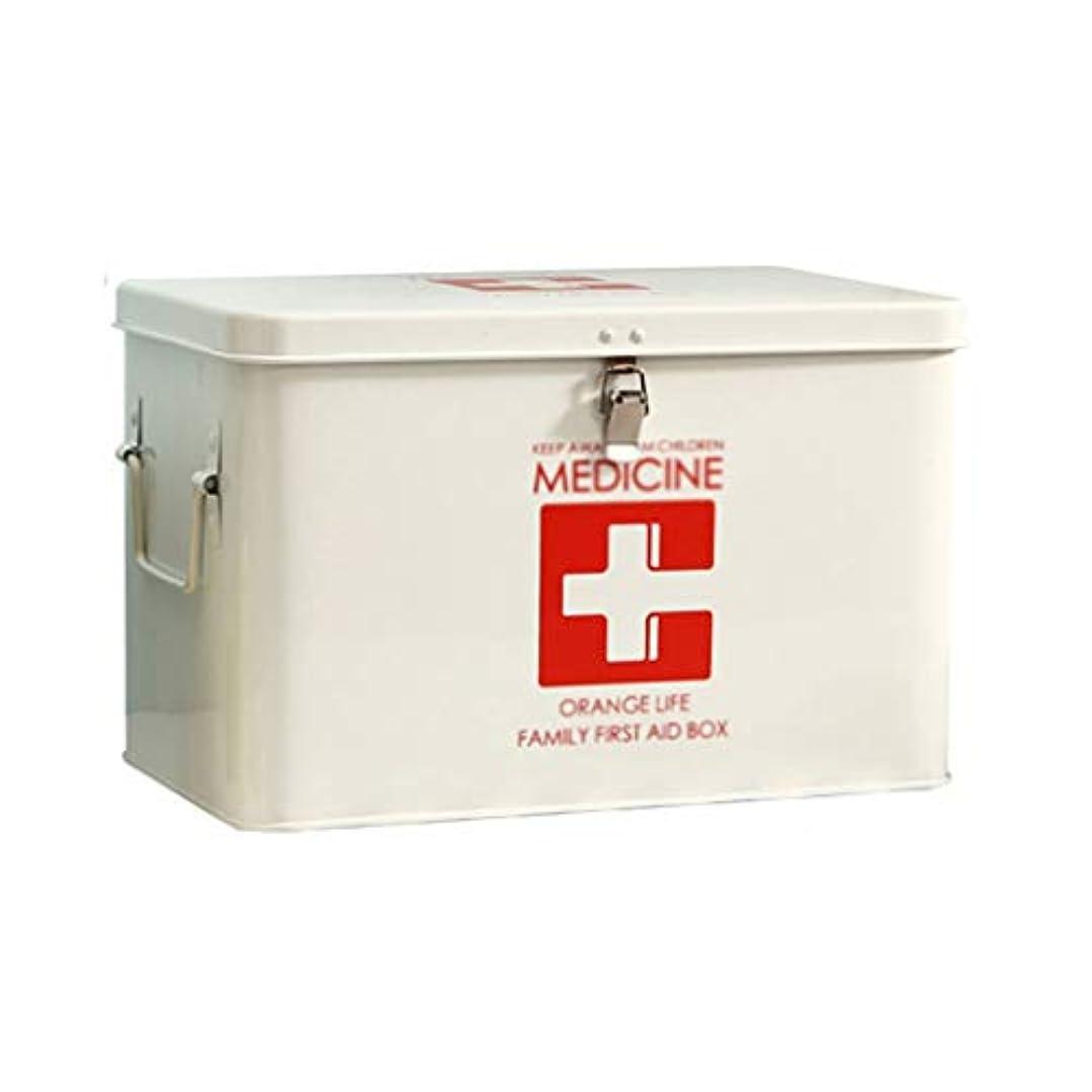 不当乳白ふつう薬用収納ボックス、サイドハンドル付き金属製応急処置ボックス、錠剤用の上部の取り外し可能なトレイキーボックス、処方薬スタッシュボックス-ホワイト/レッド