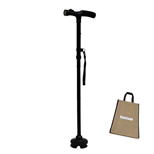 自立式 倒れない 折りたたみ ステッキ 杖 紳士用 婦人用 軽量 LEDライト付 5段階 伸縮可能 散歩 登山 トートバック付き (03、婦人用 黒 1本)