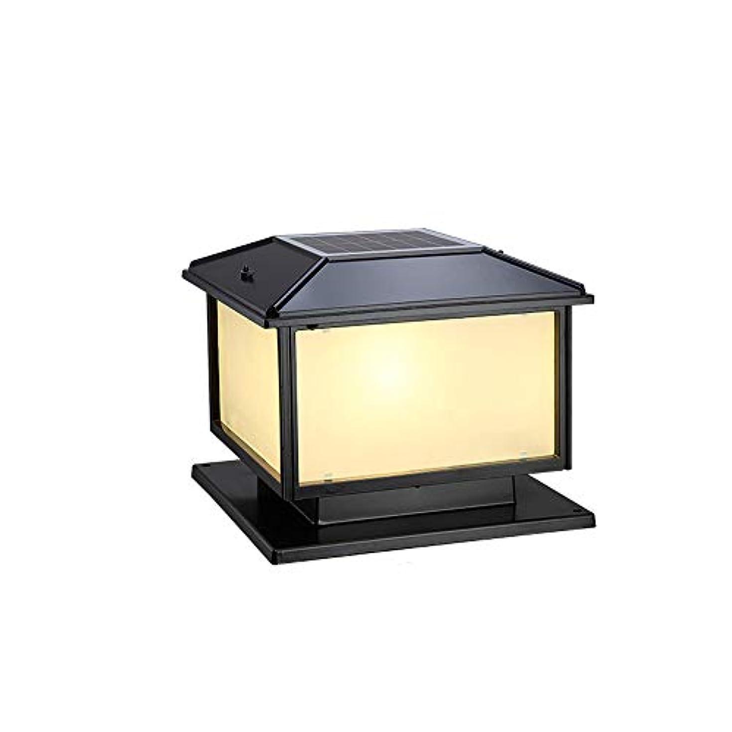 根拠政治家配送Pinjeer ヴィンテージスクエアソーラーled 2色調光ledガラスコラムランプヨーロッパアンティーク屋外アルミポストライトガーデンヴィラ中庭風景芝生装飾柱ランプ (Color : Black, サイズ : S)