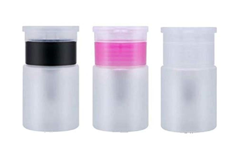 時ずらす仮定するポンプディスペンサー 60ml 液体 詰め替え容器 小分け 携帯用ボトル 3個セット QT-012