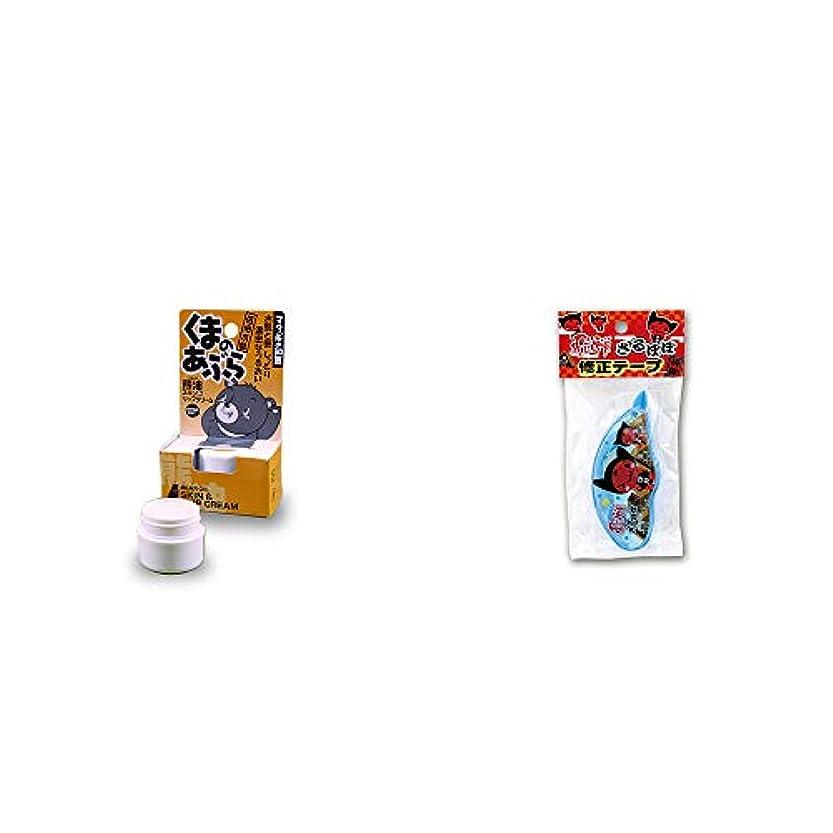 即席ヒール熟達[2点セット] 信州木曽 くまのあぶら 熊油スキン&リップクリーム(9g)?さるぼぼ 修正テープ【ピンク】