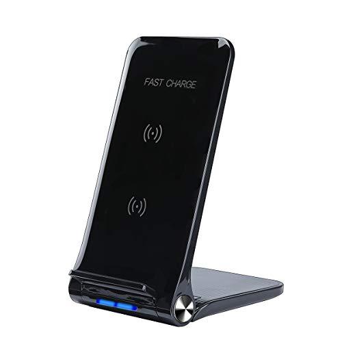 Qi 急速 ワイヤレス充電器 【日本PSE認証済み】コイル二つ USBケーブル付き 角度調節可能 iPhone XS/XS Max/XR / X / 8 / 8 Plus Galaxy S9 / S9+ / S8 / S8+ その他Qi対応機種 スマホスタンド ワイヤレス充電器
