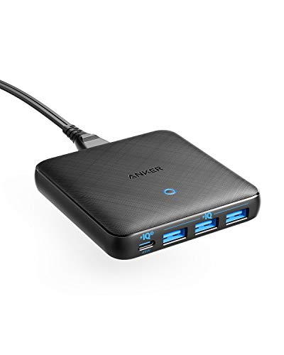 Anker PowerPort Atom Ⅲ Slim (Four Ports)(PD対応 65W 4ポートUSB-C 急速充電器)【PowerIQ3.0搭載 / Power Delivery 対応/GaN(窒素ガリウム)採用】 iPhone 11 / 11 Pro / 11 Pro Max/XS、 MacBook Air、その他USB-C機器対応 (ブラック)