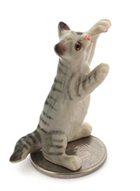 3 D Ceramic Toy Grey Cat Dollhouse Miniatures Free Ship by ChangThai Design [並行輸入品]