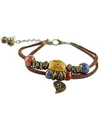 Niome Women Girls Handmade Ceramic Bead Braided Leather Bracelet Leaf Pendant Boho Style Jewelry