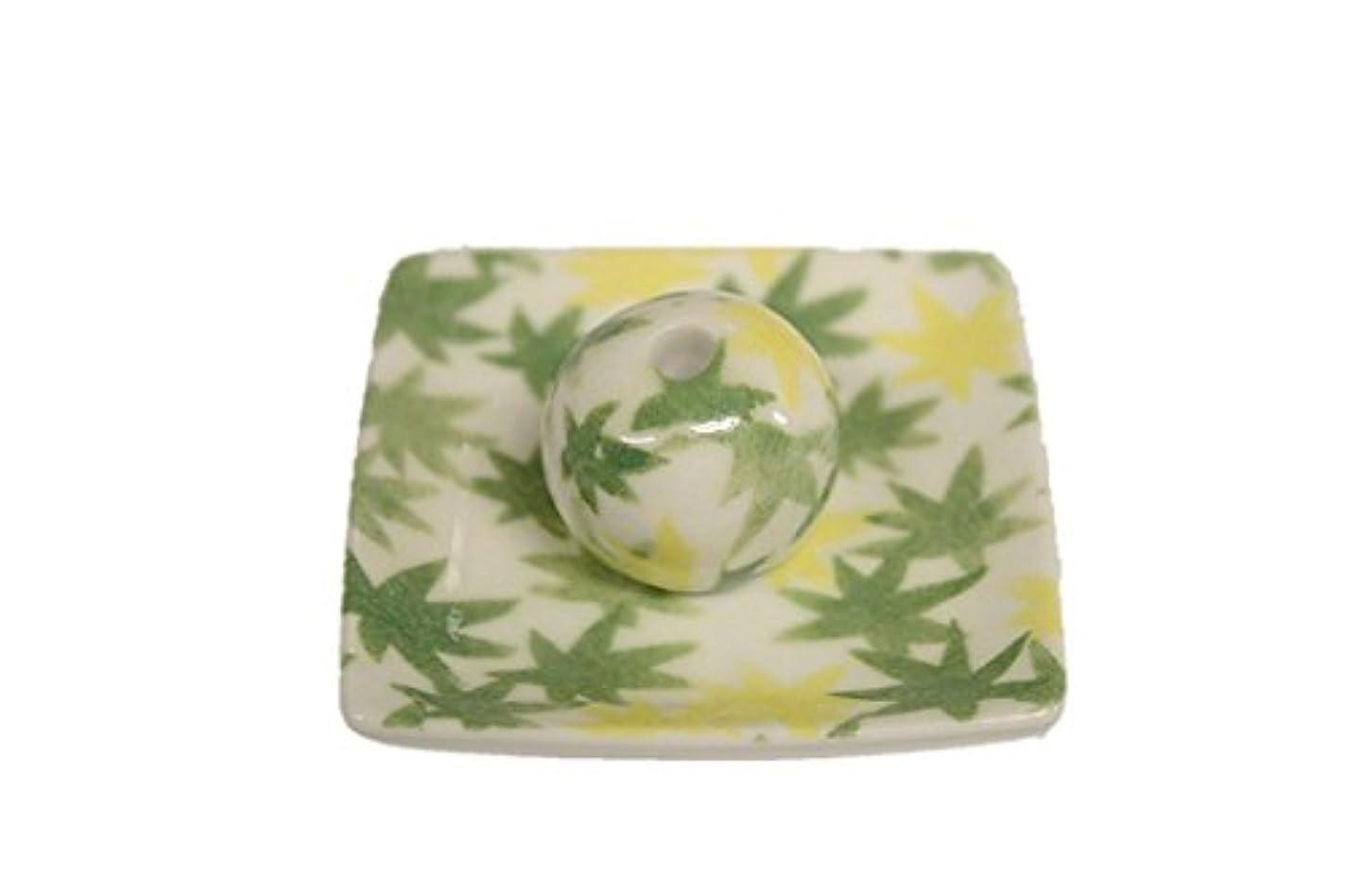 トランペット選択お金和路 緑 小角皿 お香立て 陶器 ACSWEBSHOPオリジナル
