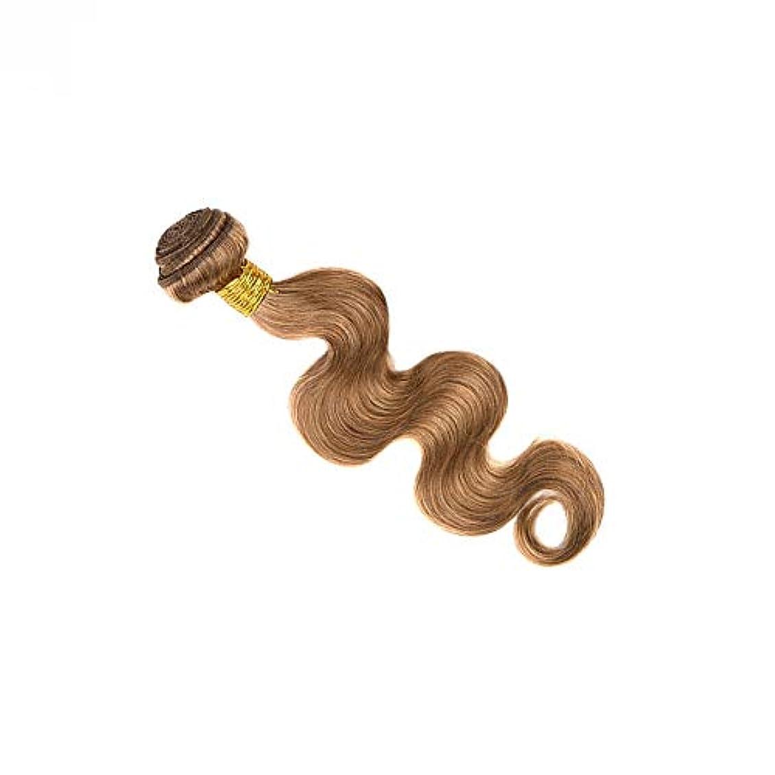 ボランティア医師ガムGoodsok-jp ブラジル人毛織りバンドルボディウェーブナチュラルヘアエクステンション27#ブラウンカラー(100g、1バンドル) (色 : ブラウン, サイズ : 14 inch)