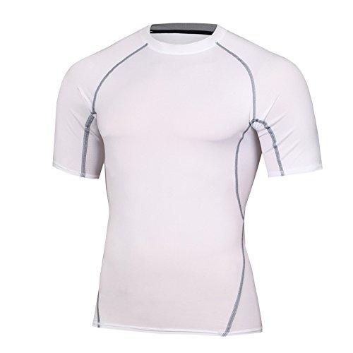 azalee コンプレッションウェア スポーツシャツ ラウンドネック 半袖シャツ メンズ ホワイト M