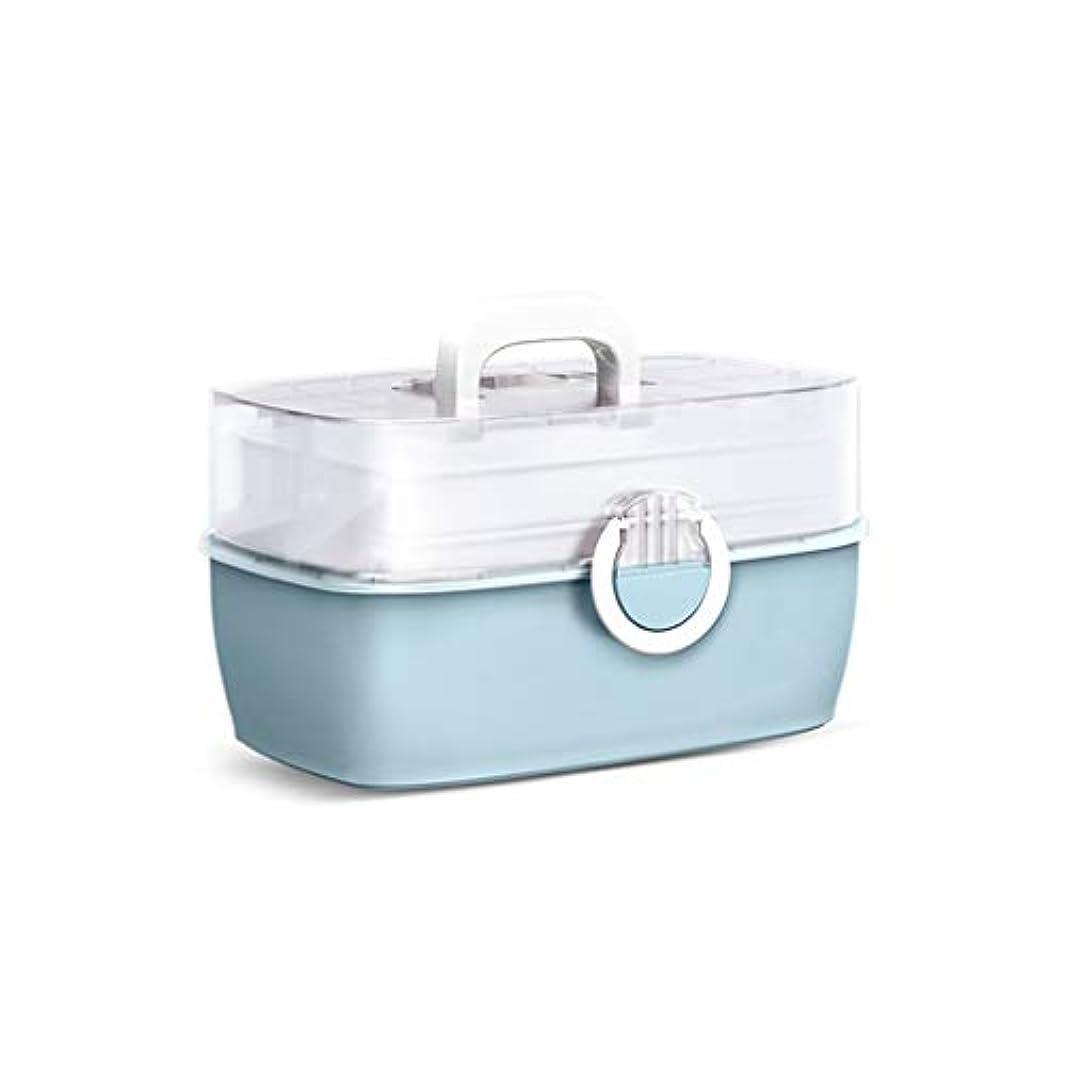 ブラシより魔術師薬箱家庭用多層薬箱子供の家庭用薬収納ボックスポータブル外来救急箱 薬箱 (Color : Blue, Size : 29cm×19.8cm×16cm)